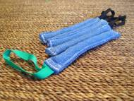 Pocket toy made of french linen with handle