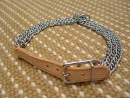 Triple Row Collar With 6 Inch Long Leather Strap In Natural Color HS Dog Collar