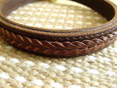 Brown Fashion Ring on Leather Choke Dog Collar   Fashion Exclusive Design   C45braidedchoke