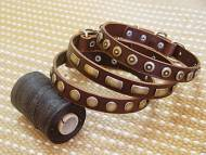 Set of 3 Handcrafted Brown Leather Dog Collars For Medium And Large Breeds In 3 Exclusive Designs