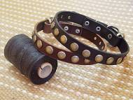dog collar, handcrafted. Leather Dog Collar For Medium Breeds With Circles