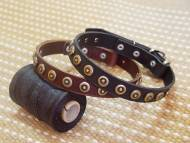 dog collar,  handcrafted, Leather Dog Collar For Medium And Large Breeds With Doted Brass Circles