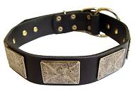Handcrafted Leather Dog Collar For Large and Medium Breeds With Vintage Massive Plates