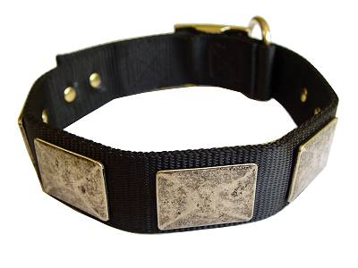 Handcrafted Nylon Dog Collar For Large and Medium Breeds With Vintage Massive Plates