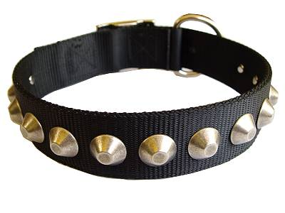 Handcrafted Nylon Dog Collar For Large and Medium Breeds With Nickle Pyramids
