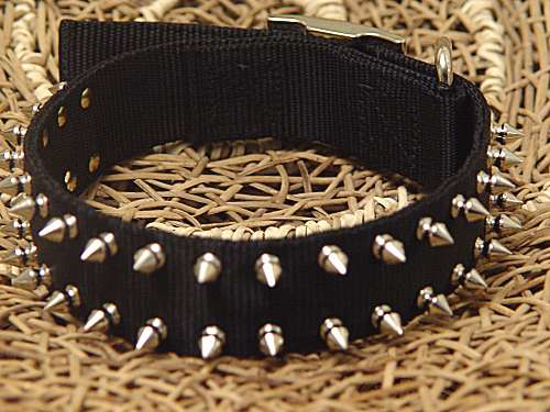 black nylon spiked dog collar sn33 dog collar 500x375