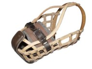 Basket leather dog muzzle