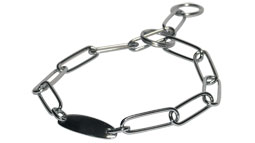 Fur Saver Dog Collar Steel Chromium Plated Width 3  MM With Plate (long links,1 welded ring, 1 split ring + plate)