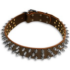 3 Rows Leather Spiked Dog Collar