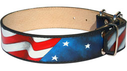 Hand painted by our artists leather dog collar - American Pride - product code c77