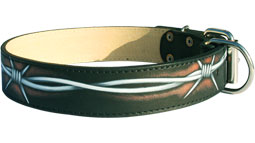 Hand painted by our artists leather dog collar - Barbed-Wire - product code c77