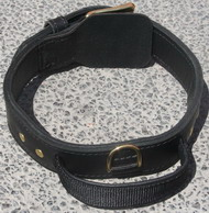Handcrafted 2 Ply Leather Agitation Dog Collar With Handle