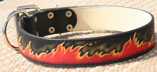 Hand painted by our artists leather dog collar - FLAMES - product code c77