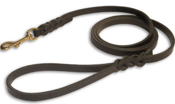 trader wearing our exclusive handcrafted leather dog leash for dog leash 600x356