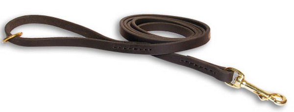 Handcrafted leather dog leash width 1/2 inch with solid brass snap hook hand stitched
