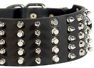 """Impressive Width"" Studded and Spiked Dog Control Collar - 3 inch"