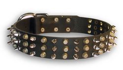 30%Discount-S58 - 3spikes+3old brass pyramids leather dog collar