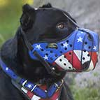 "Patriotic ""American Flag"" Hand Painted Leather Dog Muzzle for Cane Corso"