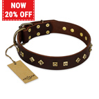 'Fashion Studs' FDT Artisan Decorated Leather Dog Collar with Old Bronze-Plated Steel Hardware 1 1/2 inch (40 mm) Wide