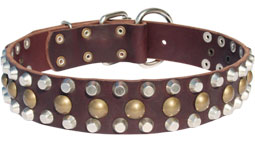 3 Rows Leather Dog Collar with Pyramids and Studs_1