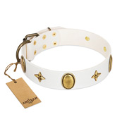 """Hollywood Star"" FDT Artisan White Leather Dog Collar with Ovals and Stars - 1 1/2 inch Wide"