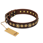 'Ancient Warrior' FDT Artisan Fancy Leather Dog Collar with Old-Bronze Plated Decorations 1 1/2 inch (40 mm) Wide