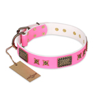 'Tender Pink' FDT Artisan Leather Dog Collar with Old Bronze Look Stars and Plates - 1 1/2 inch (40 mm) wide