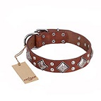 'Magic Squares' FDT Artisan Tan Leather Dog Collar with Silver-like Decor - 1 1/2 inch (40 mm) wide