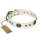 'Adorable Dream' FDT Artisan White Leather Dog Collar - 1 1/2 inch (40 mm) wide