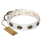 'Lovely Lace' FDT Artisan White Leather Dog Collar with Old Bronze Look Ovals - 1 1/2 inch (40 mm) wide