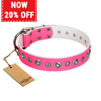 """Pink Faerie"" FDT Artisan Trendy Leather Dog Collar with Old Silver-like Plated Decorations 1 1/2 inch (40 mm) Wide"