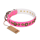 'Pink Gloss' FDT Artisan Leather Dog Collar with Old-Bronze Plated Circles and Studs 1 1/2 inch (40 mm) Wide