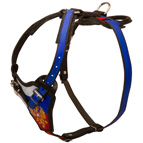 Russian Patriotic Leather Dog Harness for Walking and Hard Training