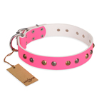 'Sheer love' Pink Leather FDT Artisan Dog Collar with Old-look Hemisphere Studs - 1 1/2 inch (40 mm) wide