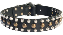 3 Rows Leather Dog Collar with Pyramids and Studs