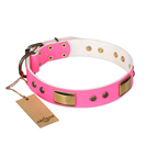 'Pink Daydream' FDT Artisan Pink Leather Dog Collar with Old Bronze Look Plates and Studs - 1 1/2 inch (40 mm) wide