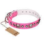 'Pink Dream' FDT Artisan Leather Dog Collar with Silvery Decorations - 1 1/2 inch (40 mm) wide