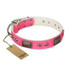 'Fashion Skulls' FDT Artisan Pink Leather Dog Collar with Old Silver Look Plates and Skulls - 1 1/2 inch (40 mm) wide