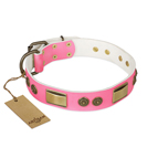 'Sunrise Glow' FDT Artisan Pink Leather Dog Collar with Old Bronze Look Plates and Round Studs - 1 1/2 inch (40 mm) wide