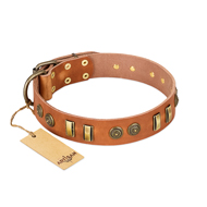 'Natural Beauty' FDT Artisan Tan Leather Dog Collar with Old Bronze-like Circles and Plates - 1 1/2 inch (40 mm) wide