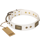 'Snow-covered Gold' FDT Artisan White Leather Dog Collar - 1 1/2 inch (40mm) wide