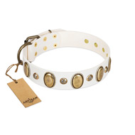 """Milky Lagoon"" FDT Artisan White Leather Collar with Vintage Looking Oval and Round Adornments"