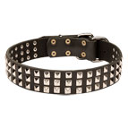 Wide Leather Dog Collar with 3 Rows of Nickel-plated Pyramids