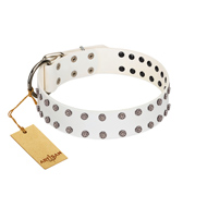 """White Night"" FDT Artisan White Leather Dog Collar with Vinatge Silver-like Studs"