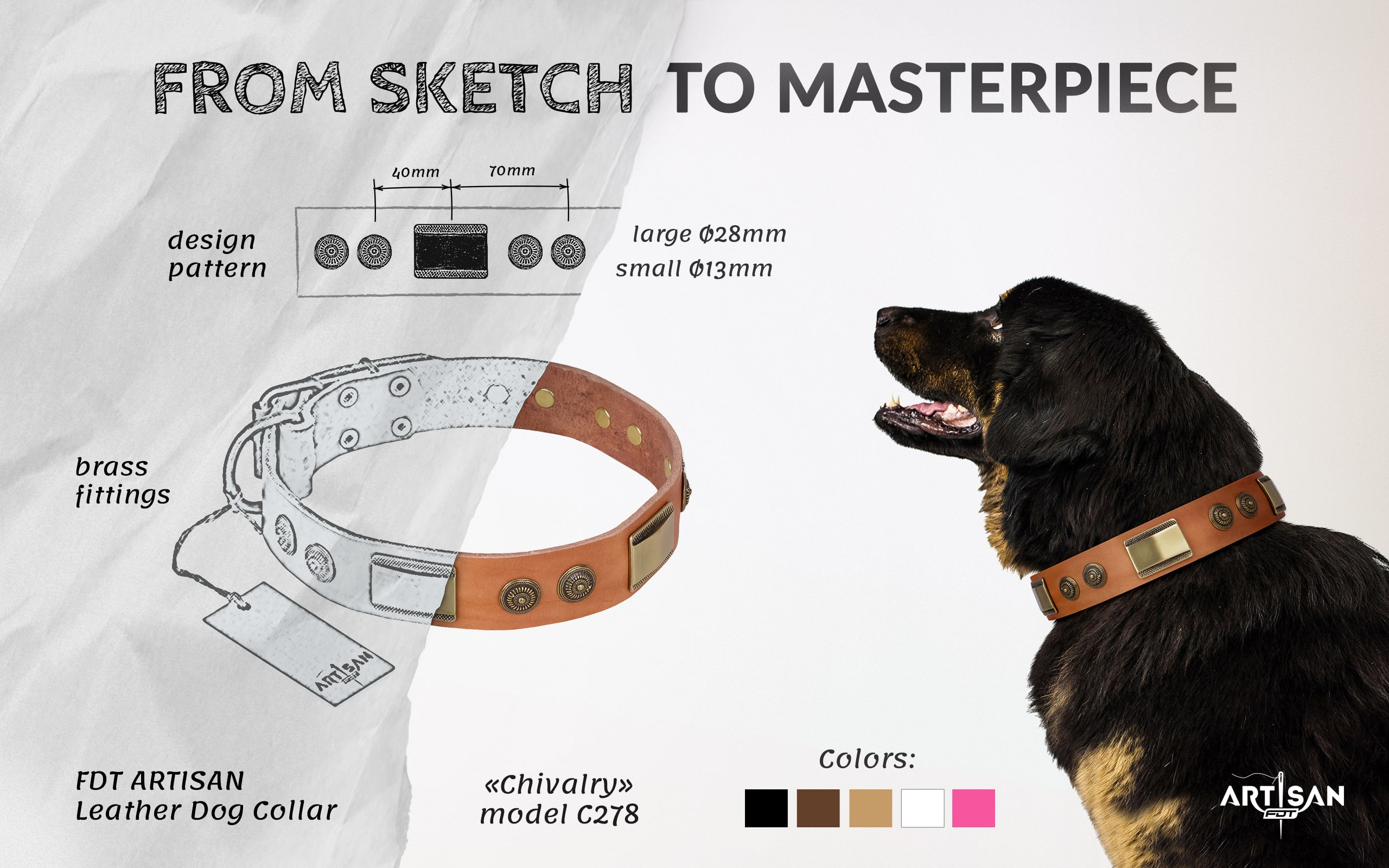 Strong leather dog collar with buckle and D-ring