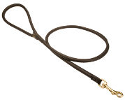 Handcrafted round leather dog leash for walking and tracking