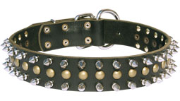 30%Discount-S60 - 2 rows spikes+1 row old brass small studs leather dog collar