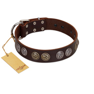 """Treasure Hunter"" FDT Artisan Brown Leather Dog Collar with Old-Bronze-like and Silvery Medallions"