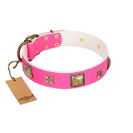 """Charm and Magic"" FDT Artisan Pink Leather Dog Collar with Luxurious Decorations"