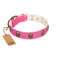 """Ms Pinky Fluff"" FDT Artisan Pink Leather Dog Collar Adorned with Conchos and Medallions"